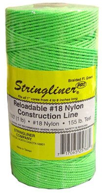 1000' Braided Nylon Construction Line - Flourecent Green